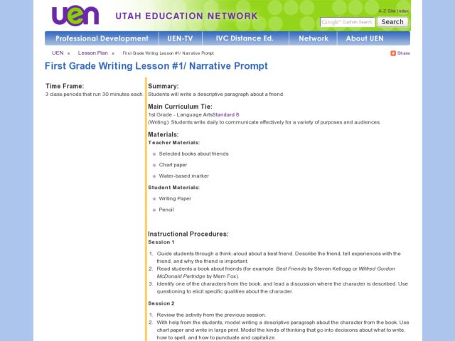 First Grade Writing Lesson #1/ Narrative Prompt Lesson Plan