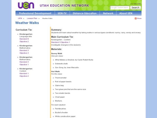 Weather Walks Lesson Plan