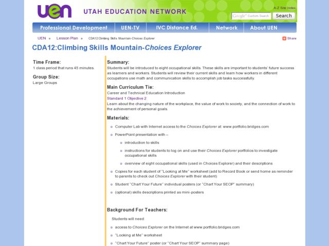 CDA12:Climbing Skills Mountain-Choices Explorer Lesson Plan