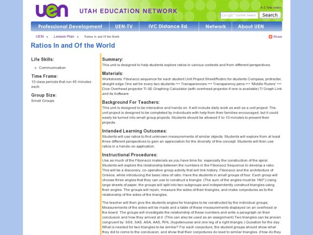 Ratios In and Of the World Lesson Plan