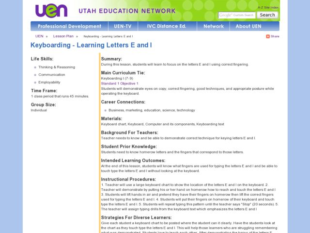 Keyboarding - Learning Letters E and I Lesson Plan