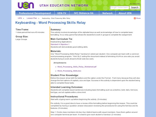Keyboarding - Word Processing Skills Relay Lesson Plan