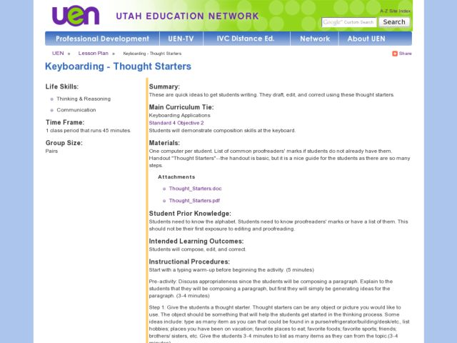 Keyboarding - Thought Starters Lesson Plan