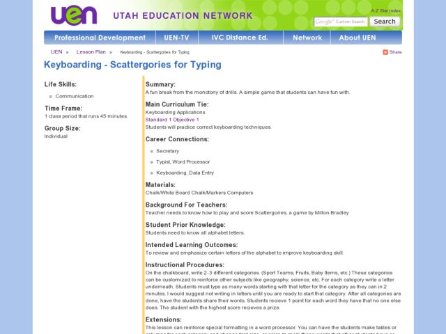 Keyboarding - Scattergories for Typing Lesson Plan