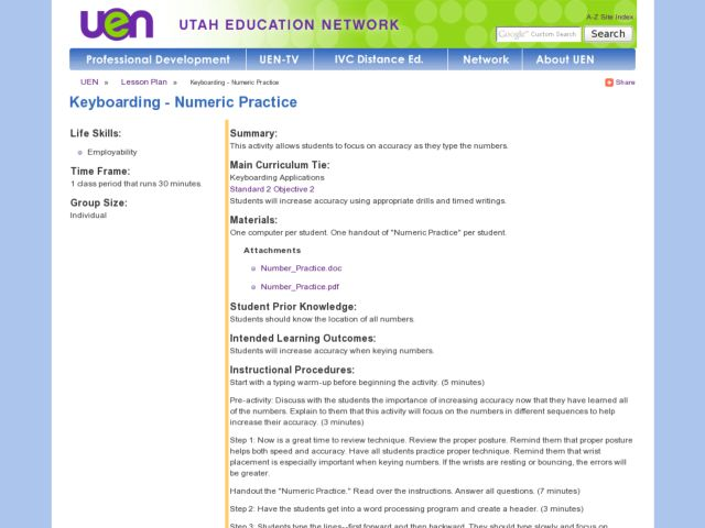 Keyboarding - Numeric Practice Lesson Plan