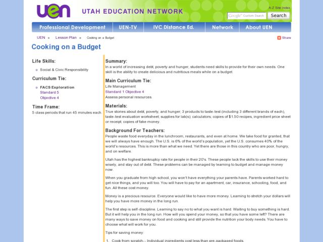 Cooking on a Budget Lesson Plan