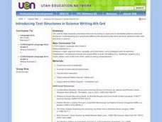 Text Structures in Science Writing Lesson Plan