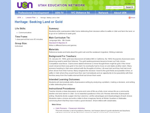 Heritage:  Seeking Land or Gold Lesson Plan