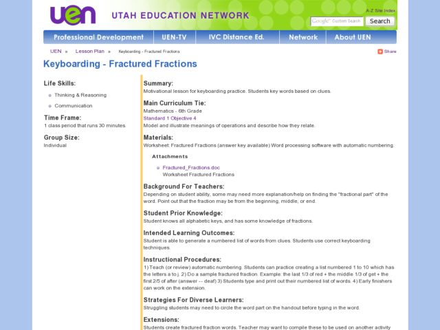 Keyboarding - Fractured Fractions Lesson Plan