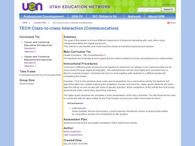 TECH:Class-to-class Interaction (Communication) Lesson Plan