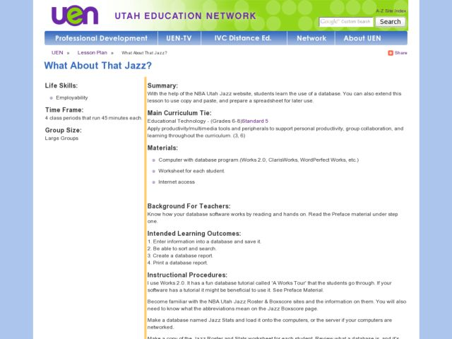 What About That Jazz Lesson Plan