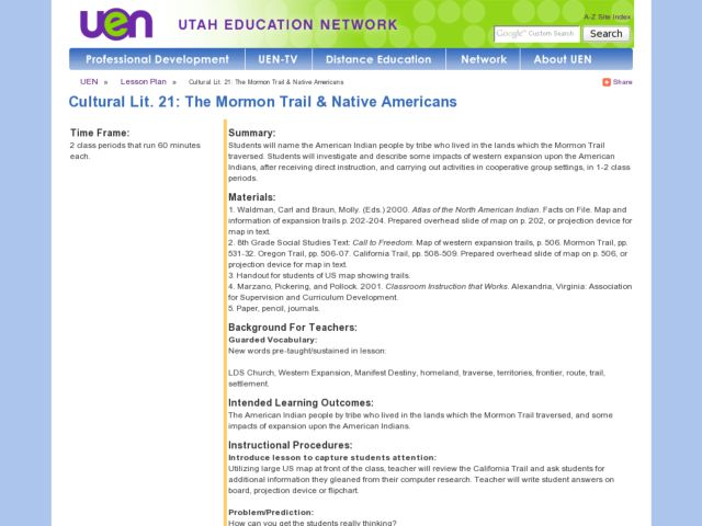 The Mormon Trail and Native Americans Lesson Plan