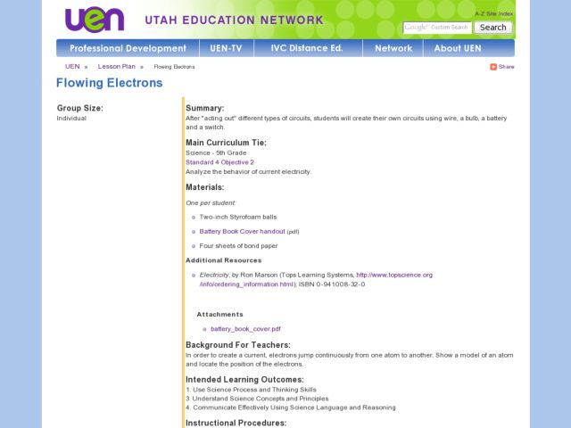 Flowing Electrons Lesson Plan