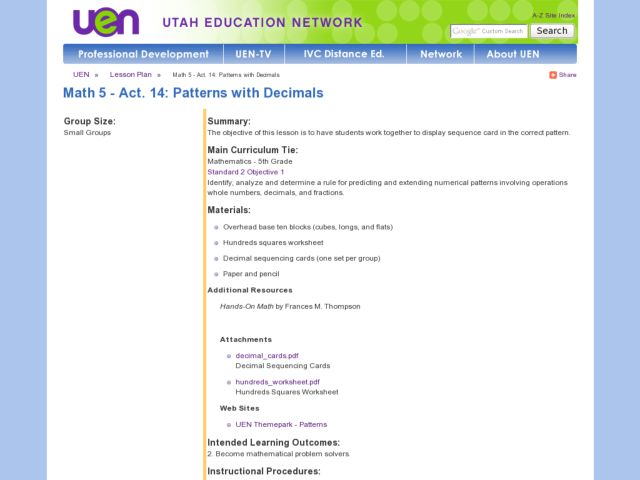 Math 5 - Act. 14: Patterns with Decimals Lesson Plan