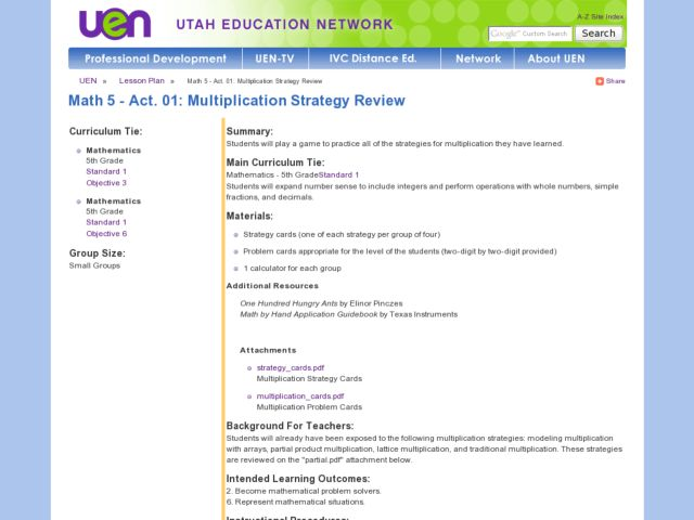 Math 5 - Act. 01: Multiplication Strategy Review Lesson Plan