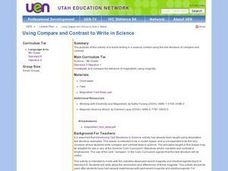 Using Compare and Contrast to Write in Science Lesson Plan