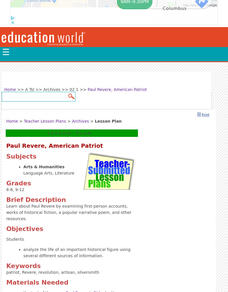 Paul Revere, American Patriot Lesson Plan