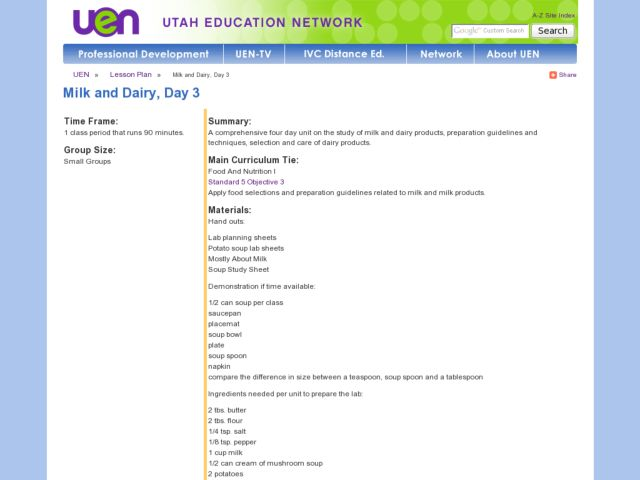 Milk And Dairy, Day 3 Lesson Plan