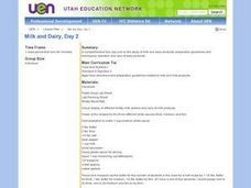 Milk And Dairy, Day 2 Lesson Plan