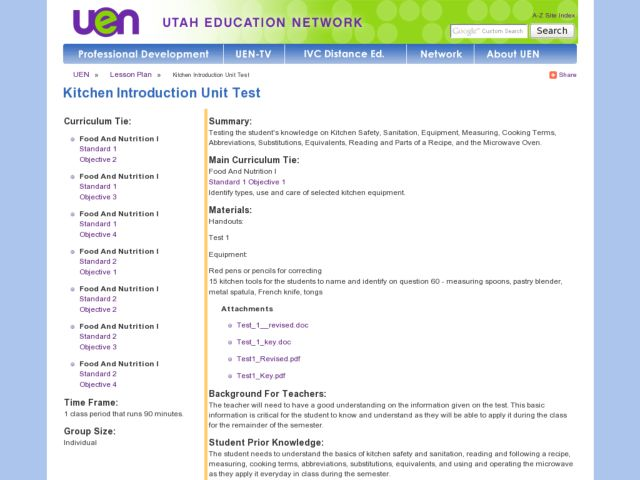 Kitchen Introduction Unit Test Lesson Plan