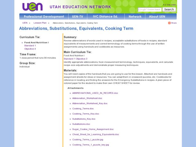 Abbreviations, Substitutions, Equivalents, Cooking Terms Lesson Plan