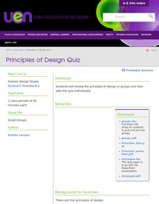 Principles of Design Quiz Lesson Plan