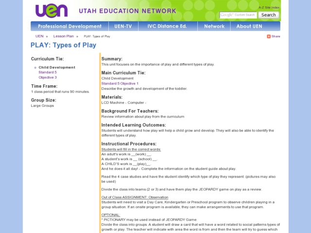 Play:  Types of Play Lesson Plan