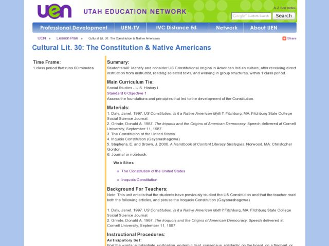 Cultural Lit. 30: The Constitution & Native Americans Lesson Plan