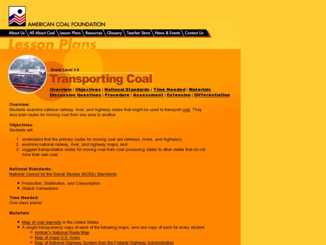 Transporting Coal Lesson Plan