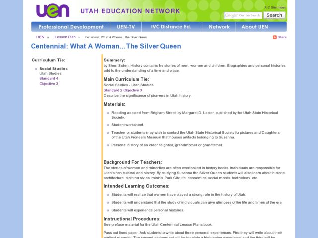 What A Woman...The Silver Queen Lesson Plan
