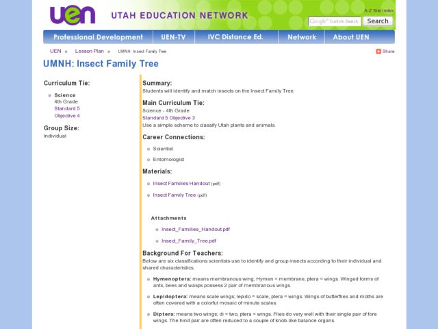 Insect Family Tree Lesson Plan