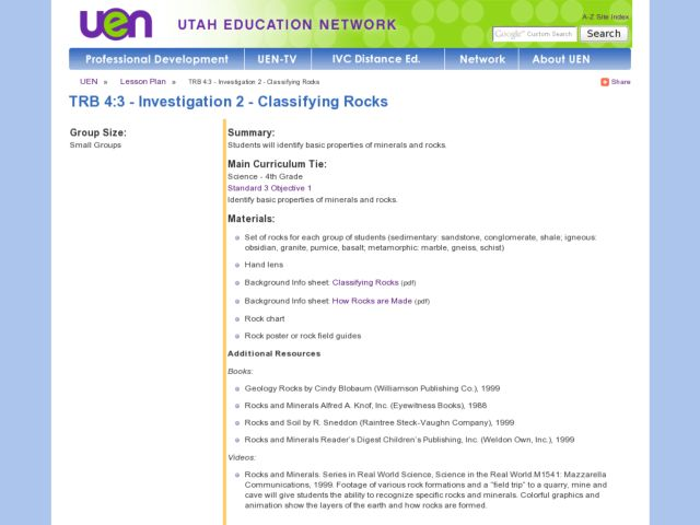 Investigation 2 - Classifying Rocks Lesson Plan