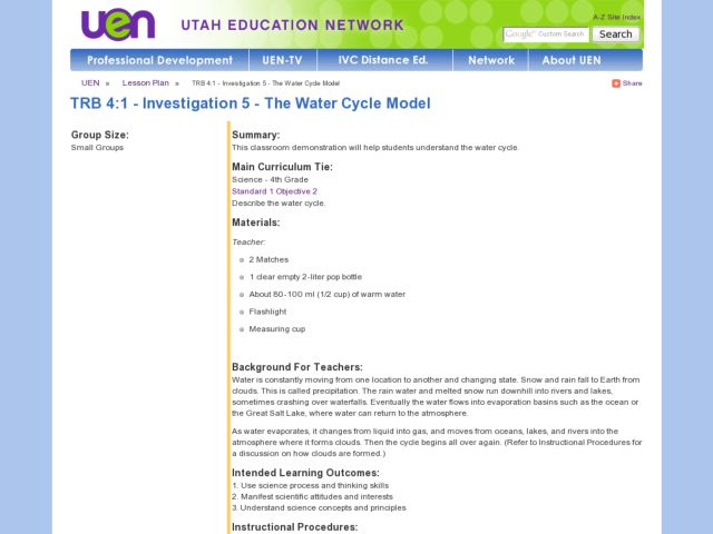 The Water Cycle Model Lesson Plan