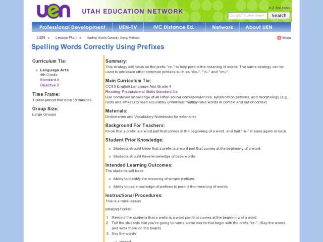 Spelling Words - Correctly Using Prefixes Lesson Plan