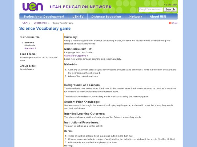 Science Vocabulary game Lesson Plan