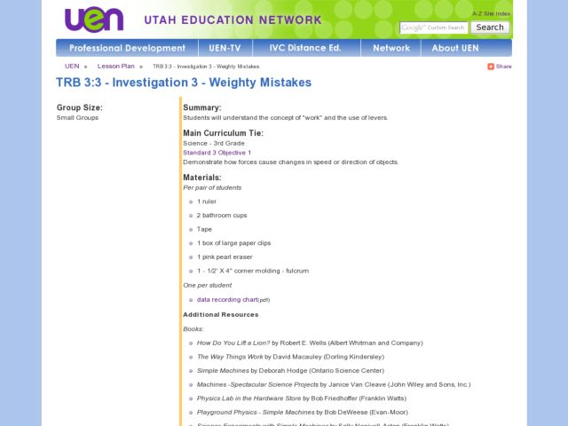 Investigation 3 - Weighty MistakesStudents Lesson Plan