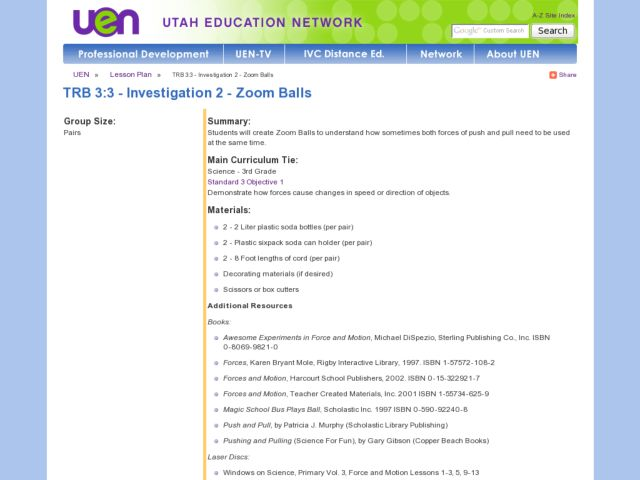 Investigation 2 - Zoom Balls Lesson Plan