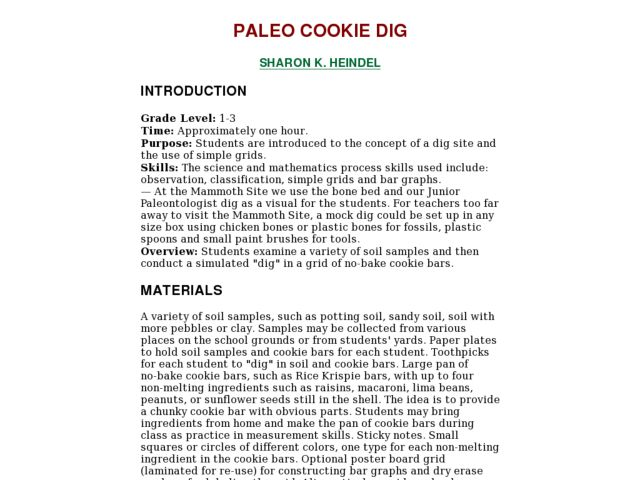 PALEO COOKIE DIG Lesson Plan