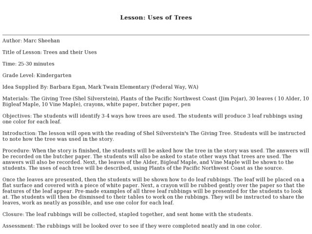 Uses of Trees Lesson Plan
