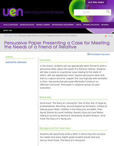 Persuasive Letter Presenting the Case For Meeting the Need Lesson Plan