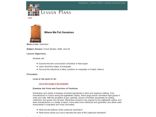 Where We Put Ourselves Lesson Plan