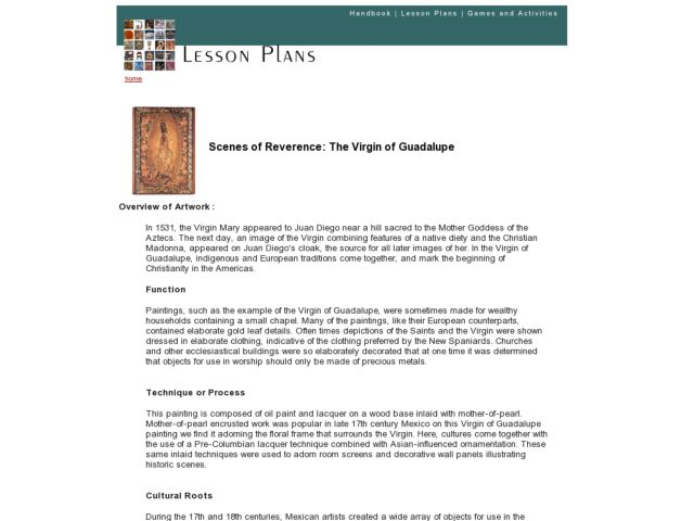Scenes of Reverence: The Virgin of Guadalupe Lesson Plan
