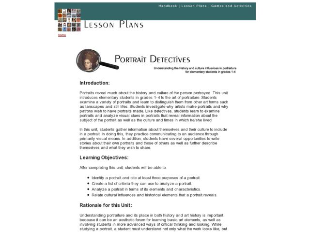 Potrait Detectives Lesson Plan