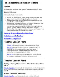 The First Manned Mission To Mars Lesson Plan
