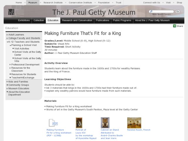 Making Furniture That's Fit for a King Lesson Plan