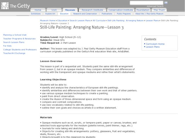 Still-Life Painting:  Arranging Nature Lesson 3 Lesson Plan
