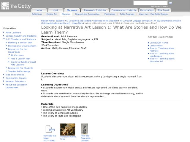 Looking at Narrative Art Lesson 1:  What Are Stories and How Do We Learn Them? Lesson Plan