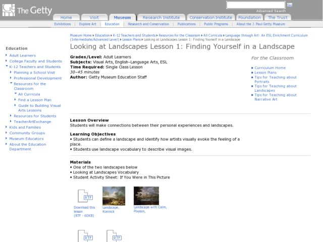 Finding Yourself in a Landscape Lesson Plan