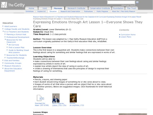 Expressing Emotions Through Art Lesson 1:  Everybody Shows They Care Lesson Plan