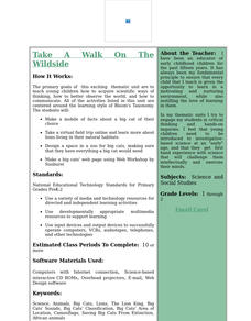 Take A Walk On The Wildside Lesson Plan